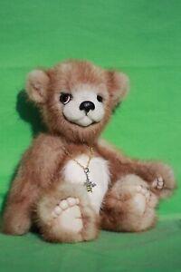 """OOAK mink fur 9"""" Teddy Bear by Hana"""