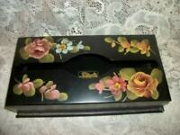 VINTAGE HP TOLE TISSUE BOX ROSES FLOWERS BLACK HARDLY USED CHIC SHABBY COTTAGE