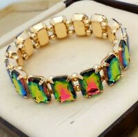 Vintage Style - Goldtone Watermelon Rainbow Glass Stone Elasticated Bracelet