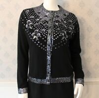 Vintage Black Wool Silver Sequin and Beaded Floral Cardigan Sweater Size 40