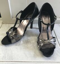Summit Heel Sandle Shoes SiZe 39 Black N Silver As New Tbar
