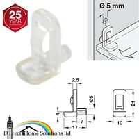 12 x Hafele Clear Glass Shelf Supports Pegs, For 6mm Shelf Thickness, Ø5mm Holes