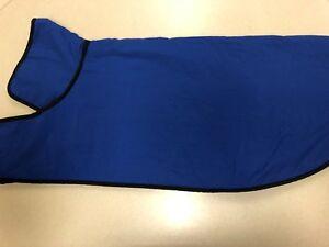 Dog Jacket Blue Nylon with Yellow Fleece Lining XXL New