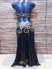 Egyptian Belly Dance Costume  bra & Skirt Professional Dancing Black Gold Beads