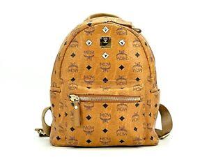MCM Visetos Stark Rucksack Backpack Small Cognac Visetos Logo Print Bag Braun
