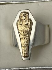 VTG 14K Yellow Gold & Sterling Silver Egyptian Mummy Ring Size 7.5