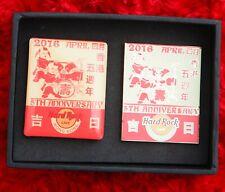 Hard Rock Cafe Pin & Magnet Set HONG KONG 5th ANNIVERSARY Plaque Children & drum