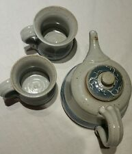 vintage faye beard pottery tea pot and 2 cups