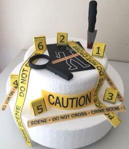 Crime scene / Murder Mystery Edible  Cake Decoration Cake Topper/ birthdays.