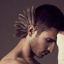 Women Man Gothic Brass Beautiful Tribal Feather Earring Earrings Large Ear Clip