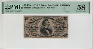 25 CENT THIRD ISSUE POSTAL FRACTIONAL CURRENCY NOTE FR.1291 PMG CH ABOUT UNC 58