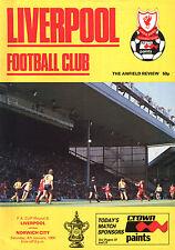 1985/86 Liverpool v Norwich City, FA Cup, PERFECT CONDITION