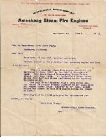 1911 Amoskeag Steam Fire Engine Providence R.I. Letter