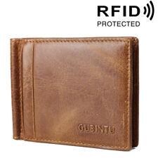 Men's Genuine Leather RFID Blocking Card Holder Money Clip Slim Billfold Wallet