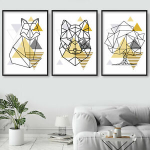 SET of 3 yellow GEOMETRIC Line FOX foxes TREE  Wall Art Prints Poster ONLY
