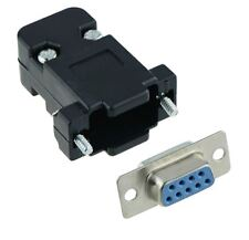 9-Way D Sub Connector Female Socket with Black Hood Cover