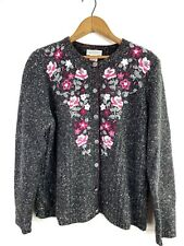 NORTHERN REFLECTIONS- Size M Charcoal Floral Embroidered Button Cardigan Sweater
