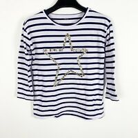 Crewcuts Collectible T Girls Sequin 3/4 Sleeve Shirt Sz 12 Striped Blue White