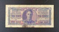 1943 British Ceylon 10 Cents Banknote, P-43.