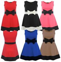 New Ladies Curve Sleeveless Contrast Color Bow Skater Dress 8-22