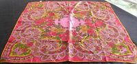 "VTG VERA JAPAN FLORAL PAISLEY HAND ROLLED 100% ACETATE SCARF  25 3/4"" x 26"""