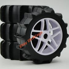 4pcs New RC 1/8 Paddle Tires & Hex 17mm Wheels for Snow / Sand Buggy Car Upgarde