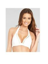 Eda Bijou Hidden Wire Halter Bikini Top White with Gold Studs Size 30D New NWT