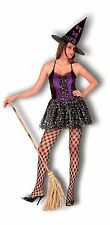 Ladies Purple & Black Saucy Witch Halloween Fancy Dress Costume with Hat NEW