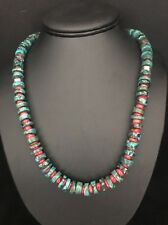 Vintage Native American Sterling Silver  Turquoise Coral  Bead Necklace