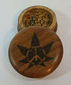 Herb Grinder Engraved with Pot Leaf Peace Sign, Wooden Antique Style, Hippie