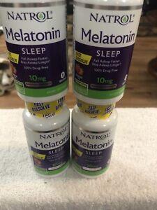 Natrol 4 Pack Melatonin 10mg  Fast Dissolve Strawberry 75ct Each Sleeping Pills