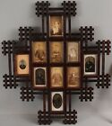 Antique 19thC Victorian Folk Art Wood CDV Tintype Photograph Frame NO RESERVE