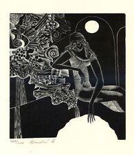 Woman by Fountain, Original Limited Ed. Print Graphic Ex libris by Anna Grmelova
