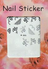 BIJOUX ONGLES NAIL ART: STICKERS DECALCOMANIE ROSES - NOIR/GRIS/BLANC
