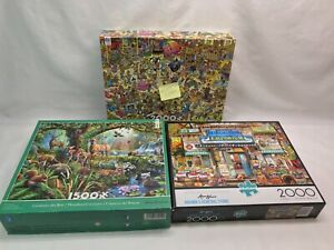 Buffalo and Ceaco Puzzle Lot of 3 - 1,500 to 2,000 Piece Puzzles