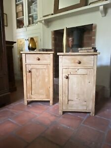Two Solid Pine Antique c.early 20th Century Bedside  Tables Cabinets Cupboards