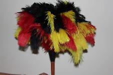 NEW-multi 3 colour ostrich feather display (duster) first grade stained handle