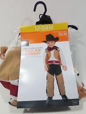Halloween Costume Ride'Em Cowboy 12-24M Infant Toddler Hat Vest NEW