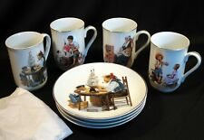 Lot Of 4 Vintage Norman Rockwell Museum 1984 Mug And Plate Sets