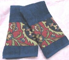 RALPH LAUREN Custom Decorated 2/ Hand Towels Blue Poet Society fabric