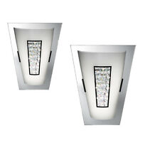 PAIR Searchlight 3773 Chrome LED 8W Glass / Crystal Centre Wall Light
