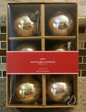 New Pottery Barn MERCURY GLASS BALL Christmas Ornaments GOLD & SILVER - Set of 6