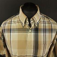 Nautica Mens Vintage Shirt XL Short Sleeve Brown Regular Fit Check Cotton
