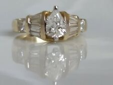 14k Gold Ring 0.71 carat Drop Center F Natural  Diamond  +1.45 Tcw Diamonds