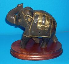 INTERESTING WOODEN ELEPHANT MADE IN INDIA WITH WOODEN BASE