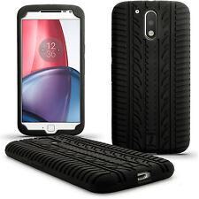 Nero Silicone Custodia Pneumatico per Motorola Moto G 4 Gen & G4 Plus Case Cover