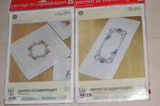 Permin of Copenhagen 1 printed dolly, 1 table runner, stamped  embroidery New!