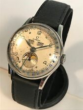 OMEGA Cosmic Triple Date Moon Phase Watch Ref. 2471-3. Cal 27 DL PC 1940s