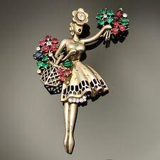 Signed Trifari Flower Seller Girl Brooch Sterling Silver VTG 1947 Figural HTF