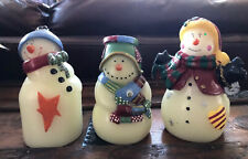 Snowman Set Of 3 Battery Operated Light Up Candle Faux Wax Winter Holiday Decor